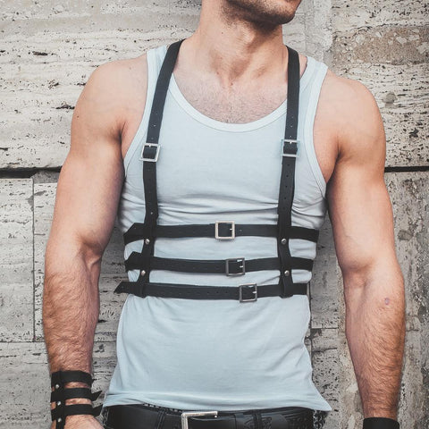Mid-Torso 3-Tiered Harness - d'143 Men's Clothing