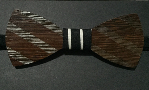 Engraved Contrast Wooden Bow Tie - d'143 Men's Clothing