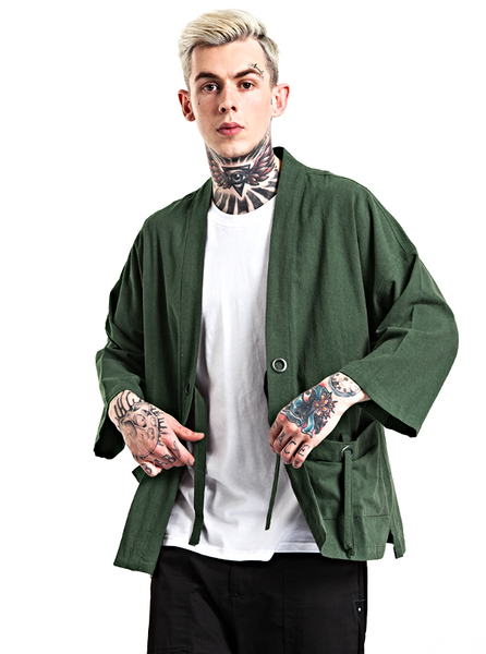 Japanese Kimono Inspired Hemp Jacket for Men | ARMY GREEN - d'143 Men's Clothing