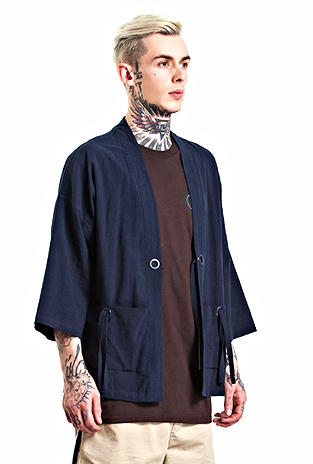 Japanese Kimono Inspired Lightweight Jacket for Men | Blue | d1four3 Mens Clothing