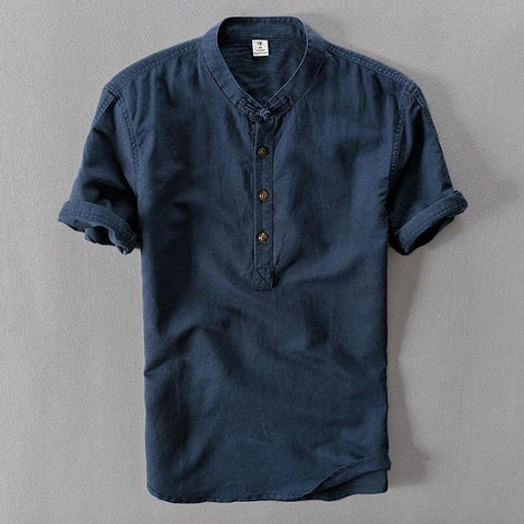 Slim Short Sleeve Linen Short Collor Polo Shirts - d'143 Men's Clothing