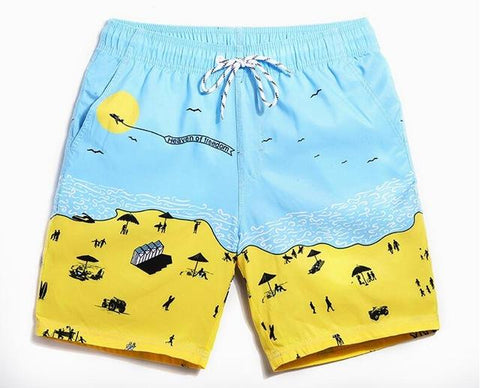 Beach-Day Print Quick Drying Bermudas Swimming Trunks for Men - d'143 Men's Clothing
