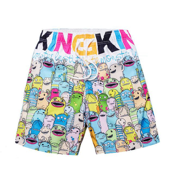 Monster-Print Quick Drying Bermudas Swimwear for Men - d'143 Men's Clothing