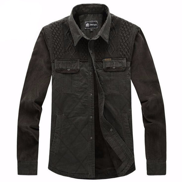 Knitted Chest Button Down Shirt - d'143 Men's Clothing