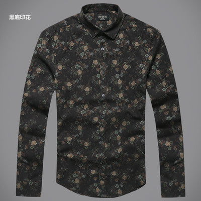 Floral Printed Long Sleeve Button Down Shirt - d'143 Men's Clothing
