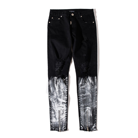 Ripped patchwork Zipper Slim Jeans - d'143 Men's Clothing