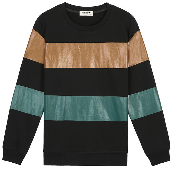 Striped Long Sleeve Pullover Shirt - d'143 Men's Clothing