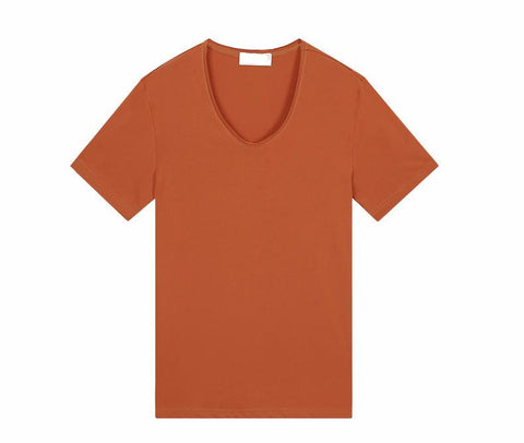 Hermes Orange Casual V-Neck - d'143 Men's Clothing