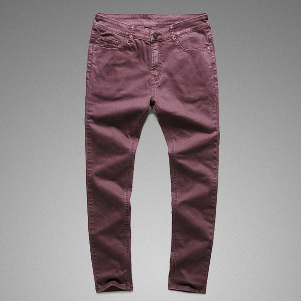Vintage Wash Burgundy  Denim Jeans - d'143 Men's Clothing
