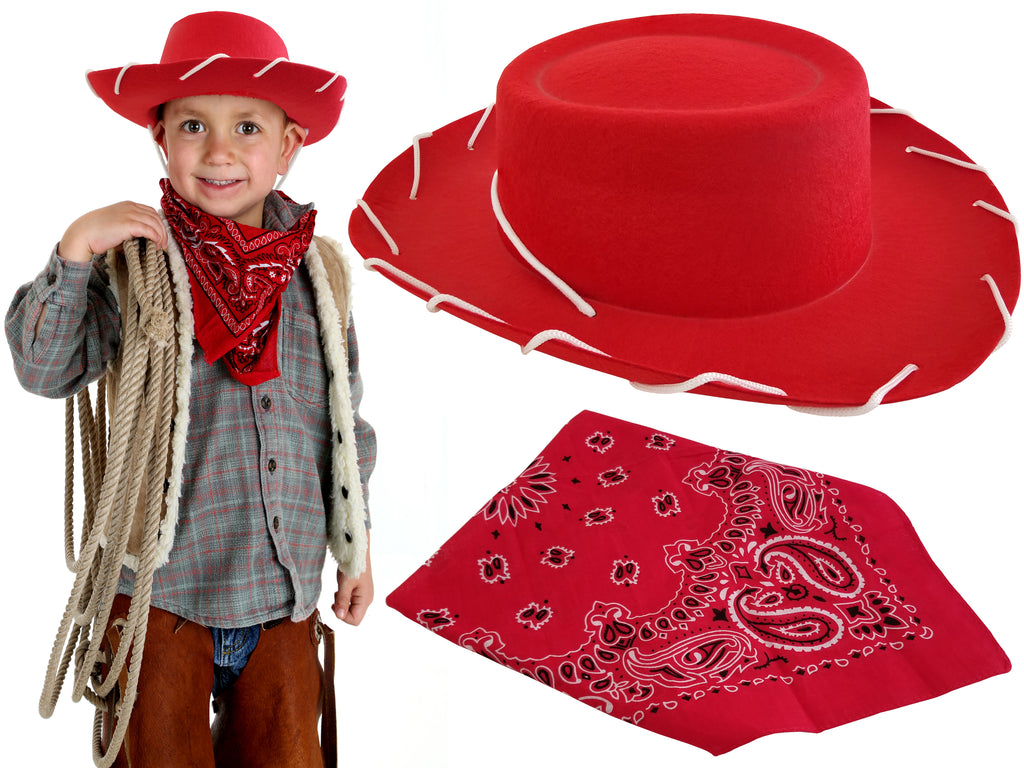 Cowboy Hat with Western Bandanna Dress Up Costume Boys Girls Halloween Toy Story