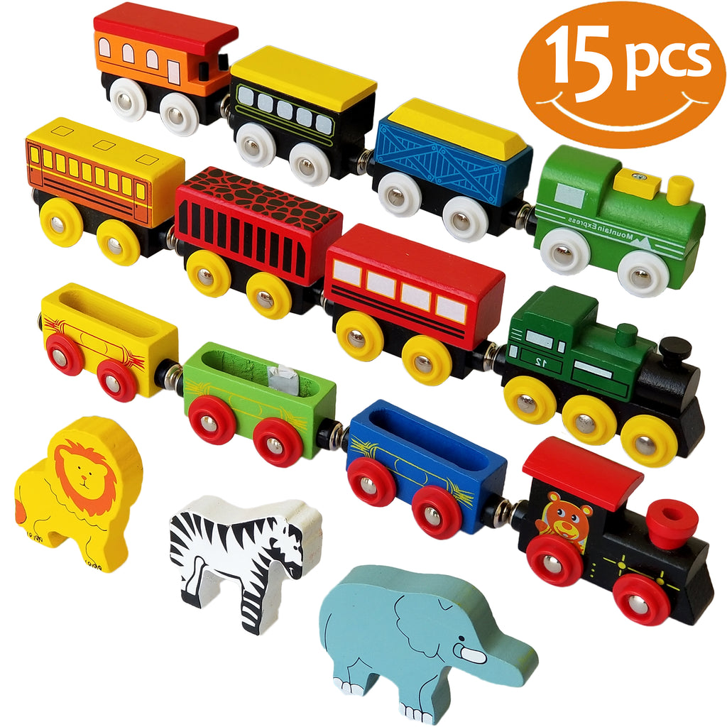 Wooden Train Set 12 PCS - Magnetic Engines With 3 Bonus Animals