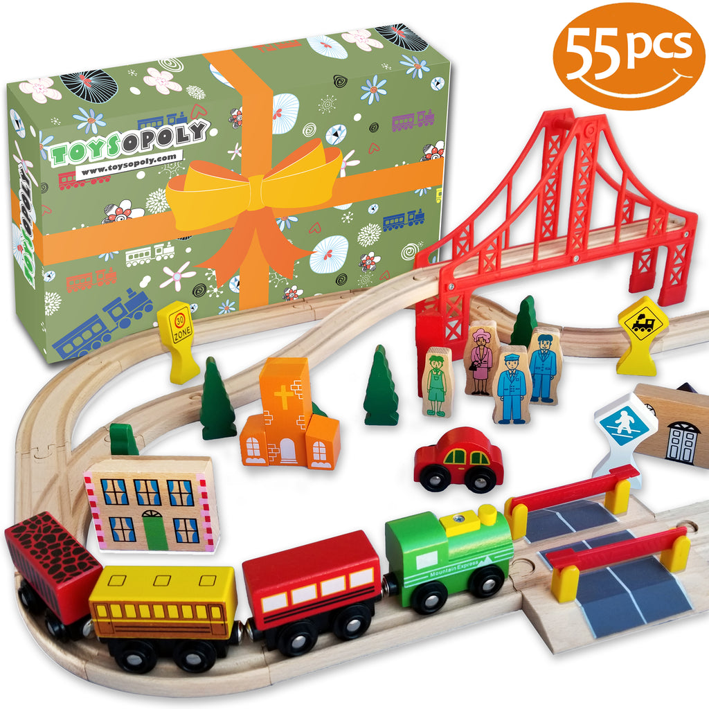 55pcs Wooden Train Track Set