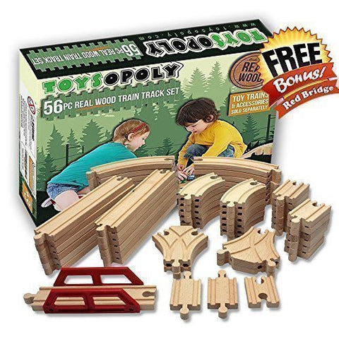 Toysopoly Wooden Train Tracks 56 Pieces Compatiable To Thomas Brio And Other Major Brand Perfect Gifts For Kids Boys Girls Age 2 3 4 And 5