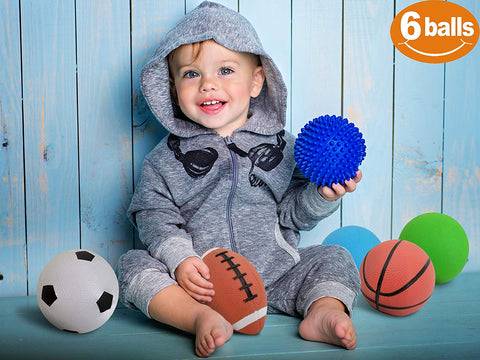 "Set of 6 Sports Balls with 1 Pump - 5"" Soccer, 5"" Basketball, 5"" Volleyball, 5"" Playground, 5"" Knobby Ball, and 6.5"" Football - Best Toy Gift for Kids Toddler Boys and Girls Age 1, 2 and 3"