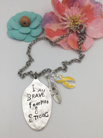 Pick Ribbon / I am Brave Strong Spoon Necklace / Fighting Cancer, Chronic Illness, Invisible Illness, Rare Disease, Cancer Survivor Spoonie