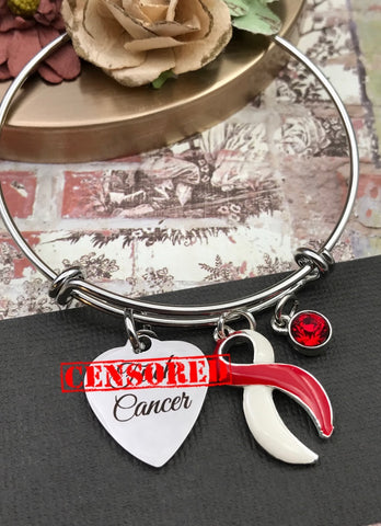 Fuc* Cancer Charm Bracelet - Pick Your Ribbon