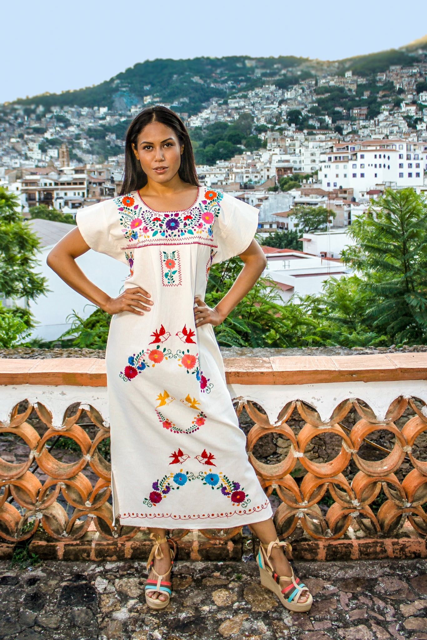"Mexican classic ""wedding"" dress  - Hand embroidered off white 100% cotton (manta)"