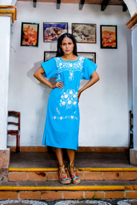 Mexican long dress  - Sky blue hand embroidered cotton polyester blend