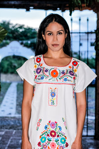 Mexican mini dress, top or blouse - White hand embroidered manta