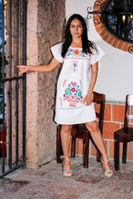 Mexican mini dress or top - White hand embroidered manta