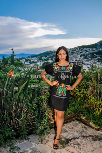 Mexican mini dress, top or blouse - Black hand embroidered manta