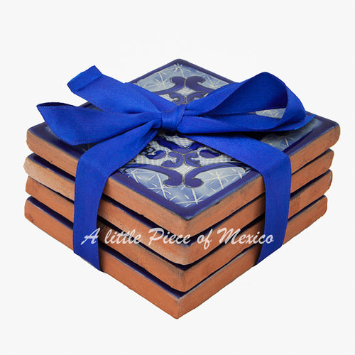 Talavera Coaster set of 4 - Blue and White design