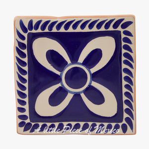 Talavera Coaster set of 4 - Blue and White Floral design