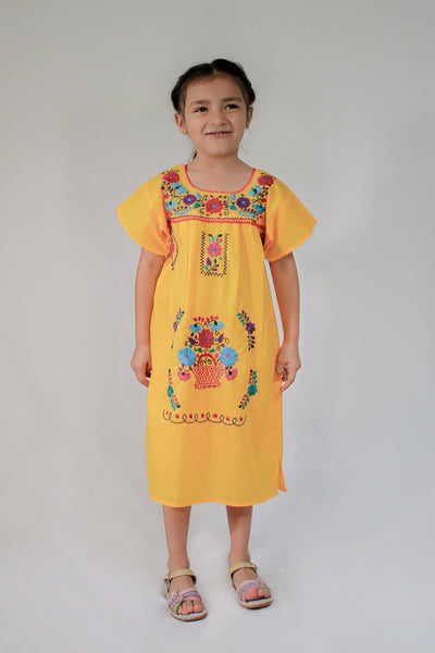 Girls Mexican Peasant Yellow Little Puebla Dress