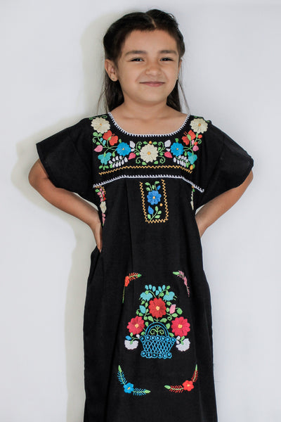 Girls Mexican Peasant Black Little Puebla Dress