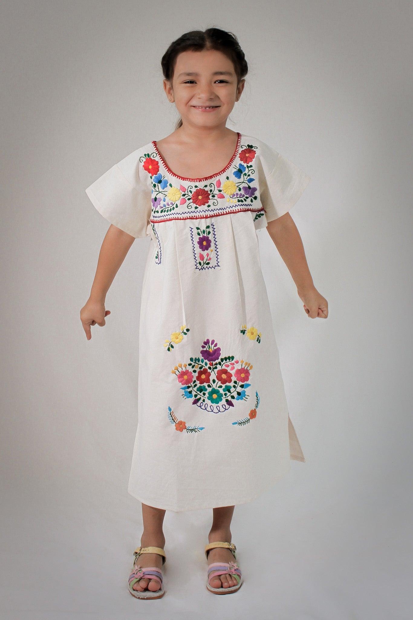 Girls Mexican Peasant White Little Puebla Dress