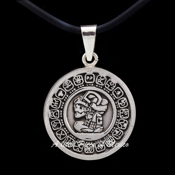 Silver Pendant - Mayan Calendar and the Carrier of time