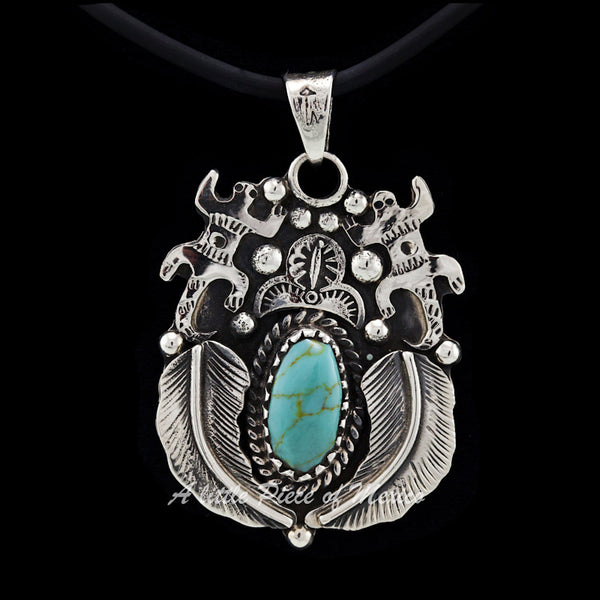 Silver and Turquoise Iguana and Ferns pendant