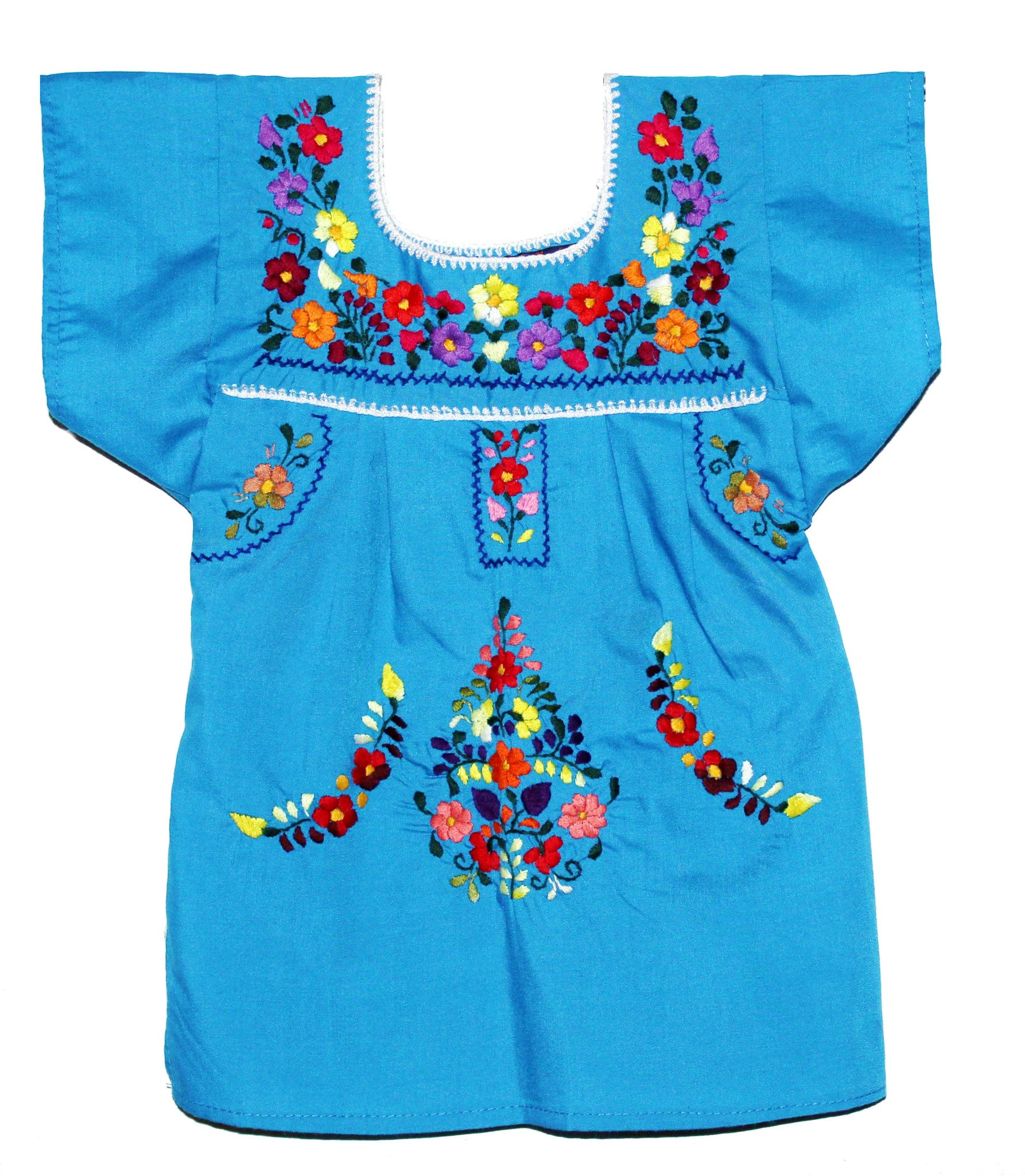 Girls Mexican Peasant sky Blue Little Puebla Dress