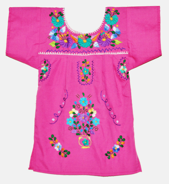 Girls Mexican Peasant Pink Little Puebla Dress