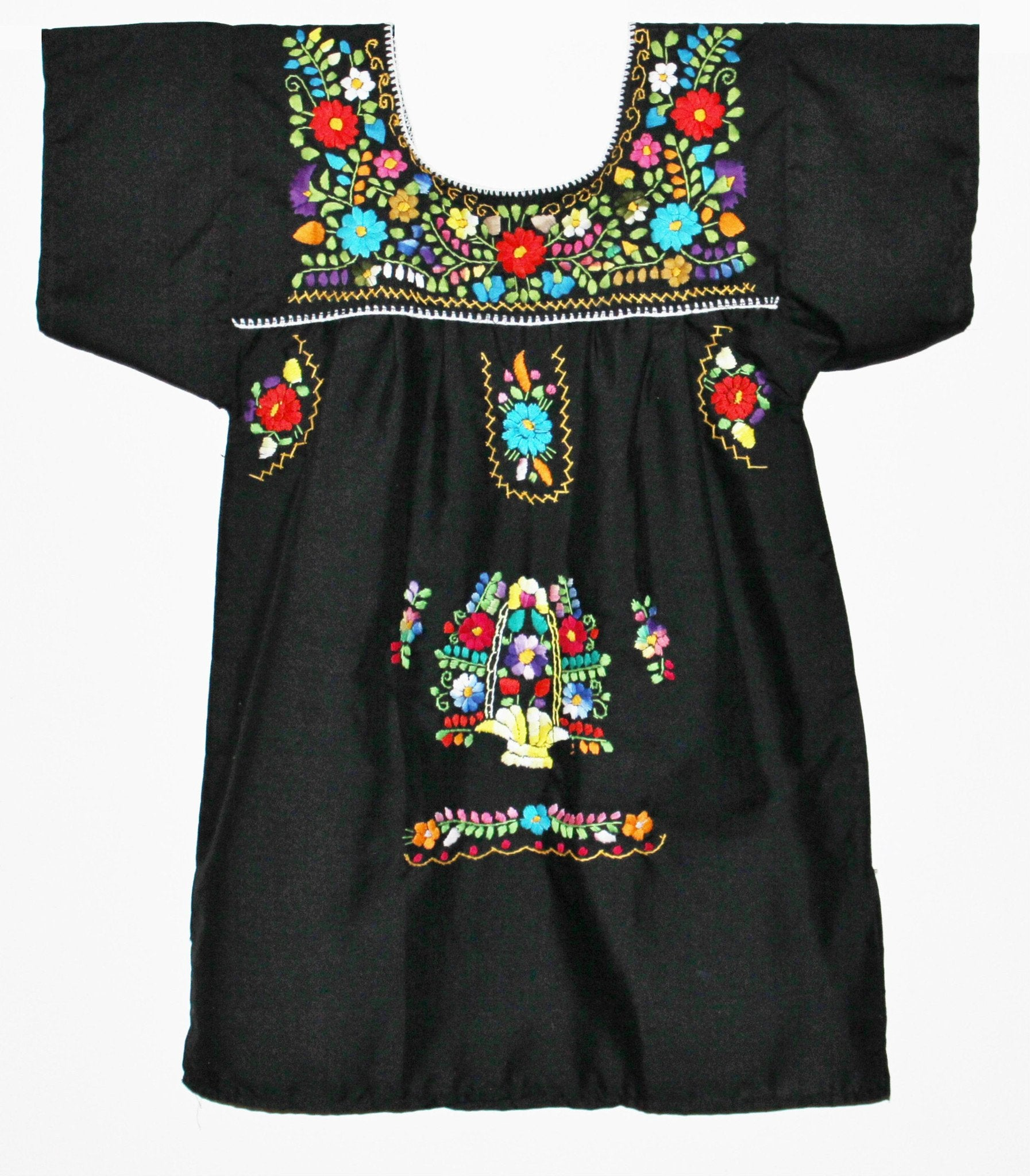 Girl Mexican Little Puebla Peasant Dress - Various Colors