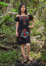 Mexican off the shoulder mini dress  - Black hand embroidered manta