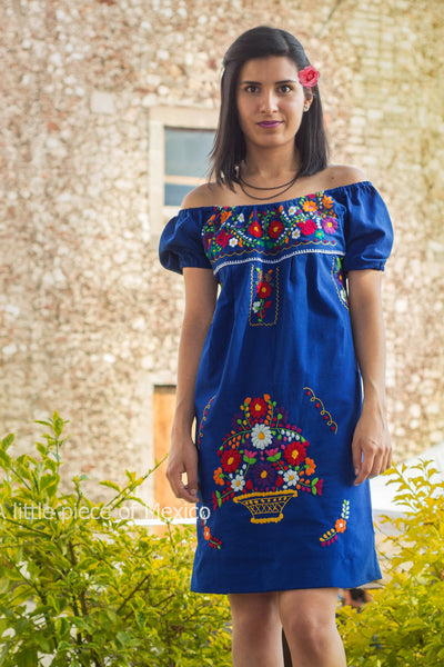 Mexican off the shoulder mini dress  - Royal blue hand embroidered manta