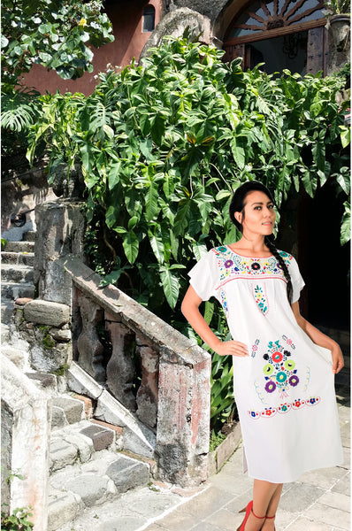 Mexican long dress  - White hand embroidered manta