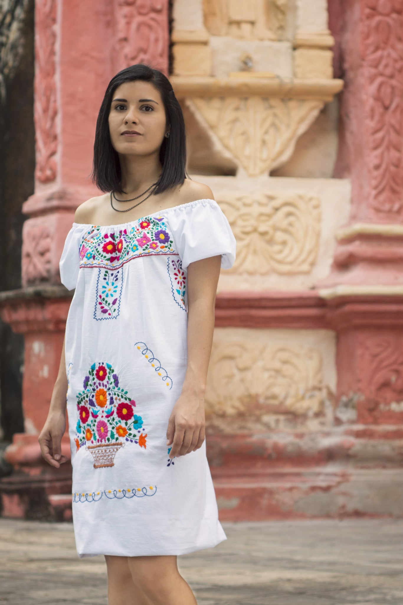 Mexican off the shoulder mini dress  - White hand embroidered manta