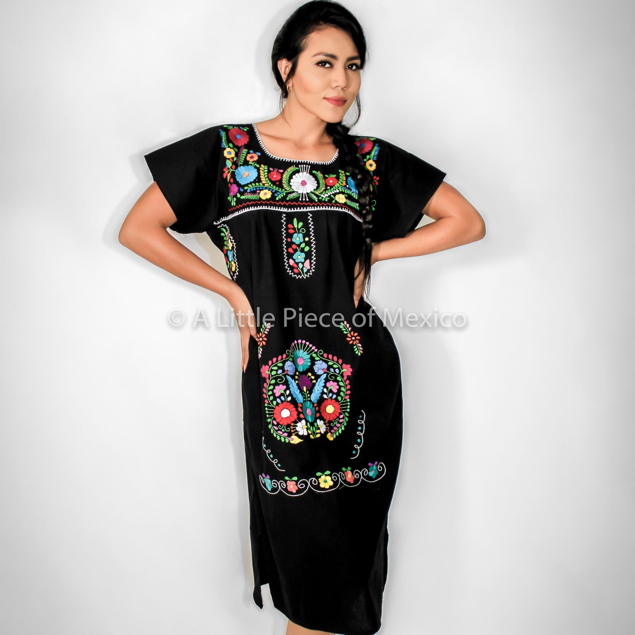 Black Mexican Dress Handmade Mexican Embroidered Dresses And Vintage  Treasures From