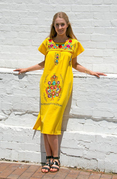 Mexican long dress  - Yellow hand embroidered manta