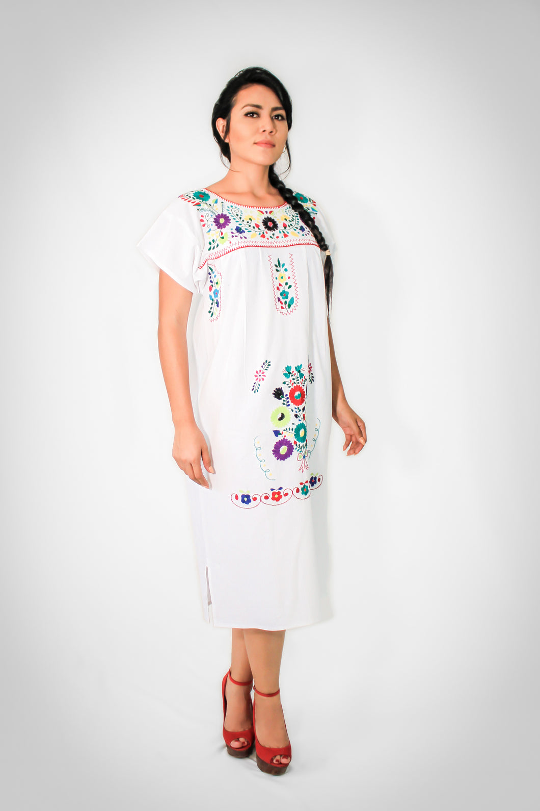 Mexican long cotton dress  - White hand embroidered