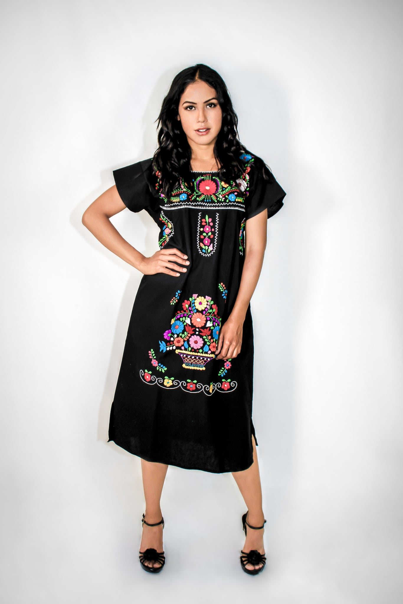 Mexican long dress  - Black hand embroidered manta