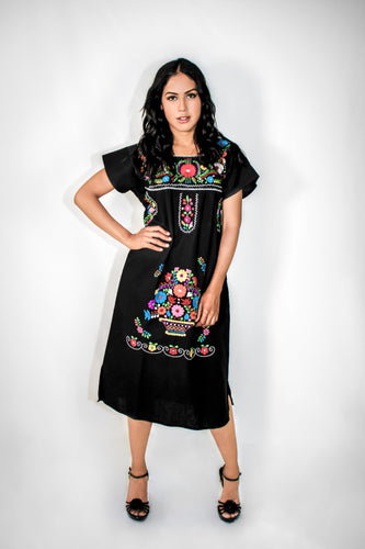 Mexican long dress pure cotton - Black hand embroidered