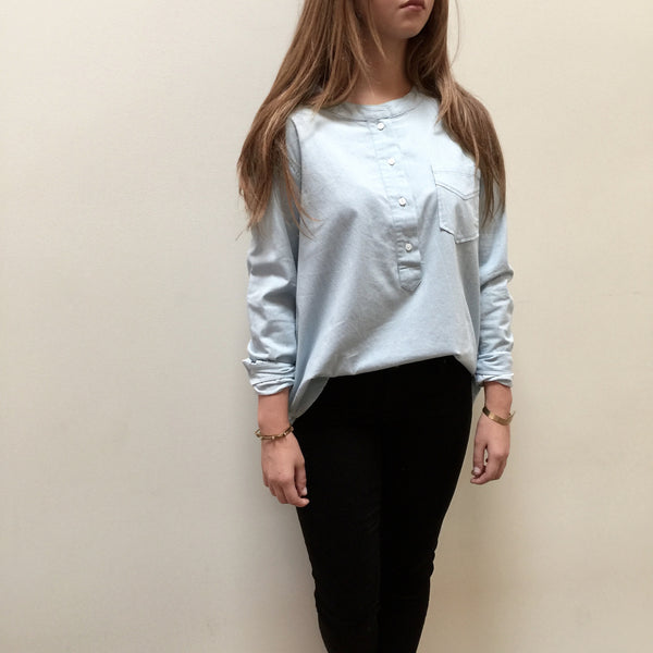 Round Neck Chambray Top