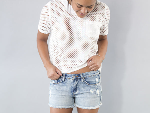 Cut Out Button Back Top