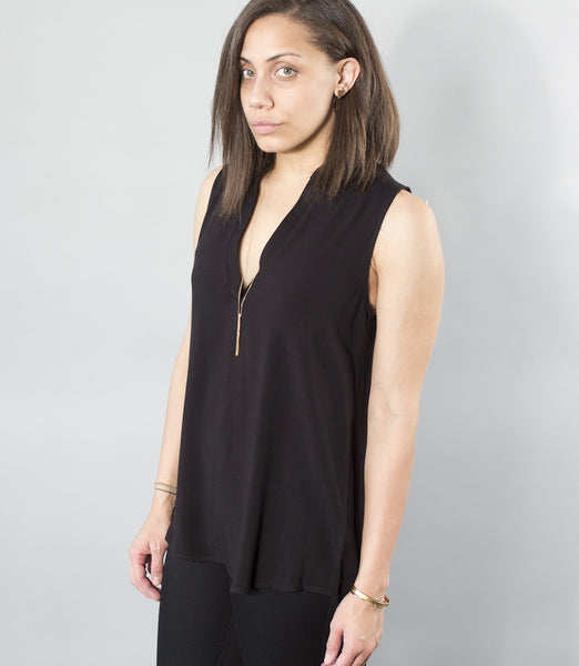 Crosshatch Sleeveless Split Neck Top