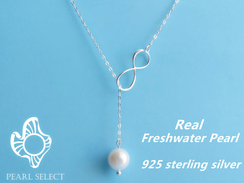 White Freshwater Pearl Infinity Necklace