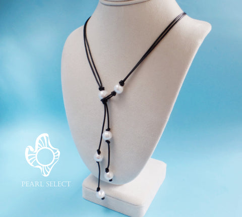 Leather Pearl Long Necklace