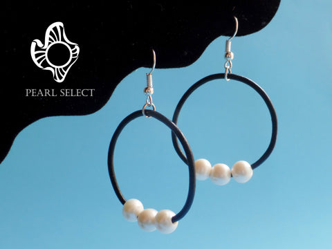 Leather Pearl Hoop Earrings